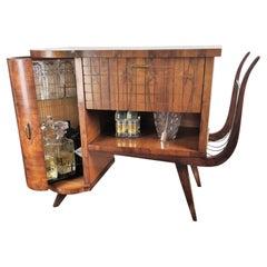 Italian Midcentury Regency Italian Walnut, Burl & Mirror Dry Bar Cabinet