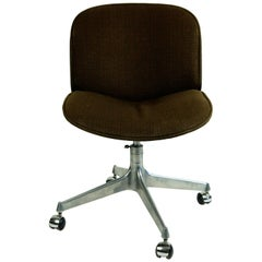 Italian Midcentury Rosewood and Brown Fabric Office Chair by Ico Parisi for Mim