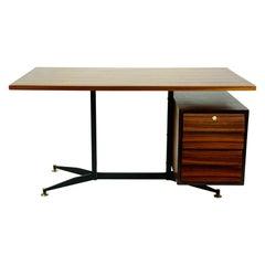 Italian Midcentury Rosewood, Brass and Steel Desk