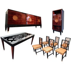 Italian Midcentury Rosewood Dining Room Set Attributed to Paolo Buffa, 1950s