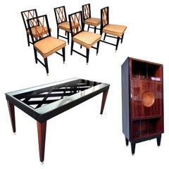 Italian Midcentury Rosewood Dining Room Set Paolo Buffa Style, 1950s