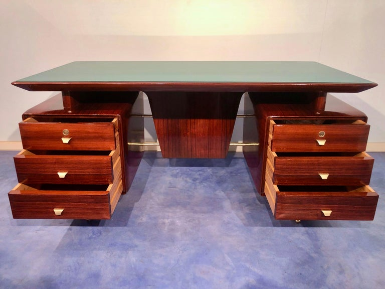 Italian Midcentury Rosewood Executive Desk with Chairs, Vittorio Dassi, 1950s  For Sale 11