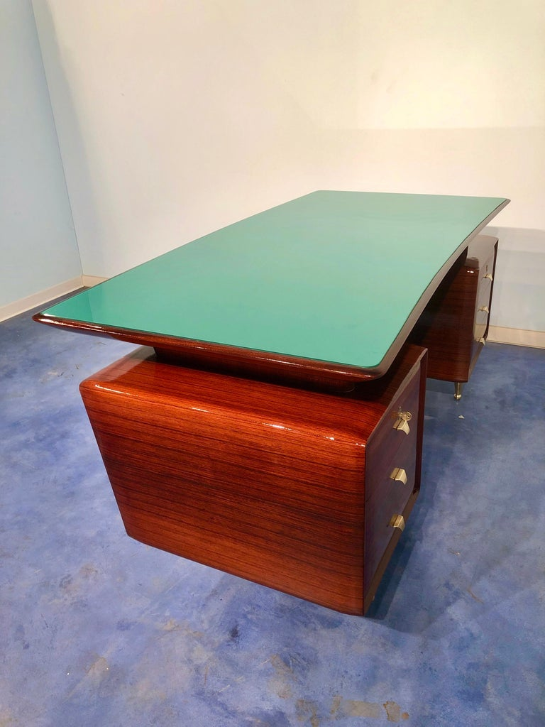 Italian Midcentury Rosewood Executive Desk with Chairs, Vittorio Dassi, 1950s  For Sale 13
