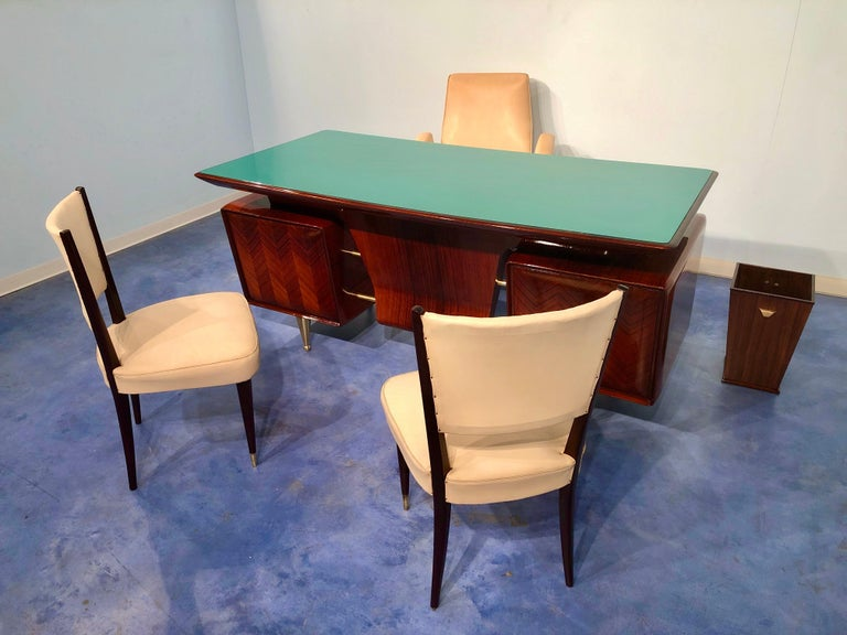 Italian Midcentury Rosewood Executive Desk with Chairs, Vittorio Dassi, 1950s  For Sale 15