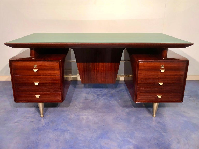Mid-Century Modern Italian Midcentury Rosewood Executive Desk with Chairs, Vittorio Dassi, 1950s  For Sale