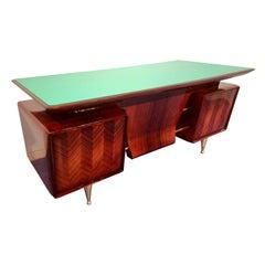 Italian Midcentury Rosewood Executive Desk attributed to Vittorio Dassi, c. 1954