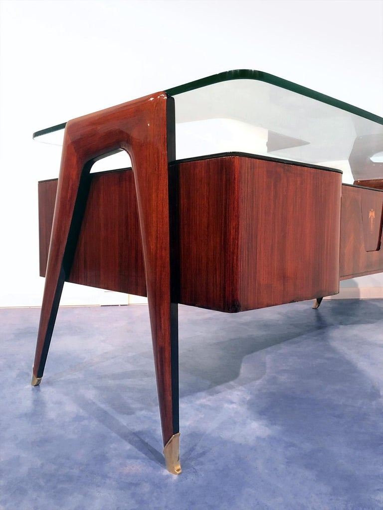 Brass Italian Midcentury Rosewood Executive Desk by Vittorio Dassi, 1950s For Sale