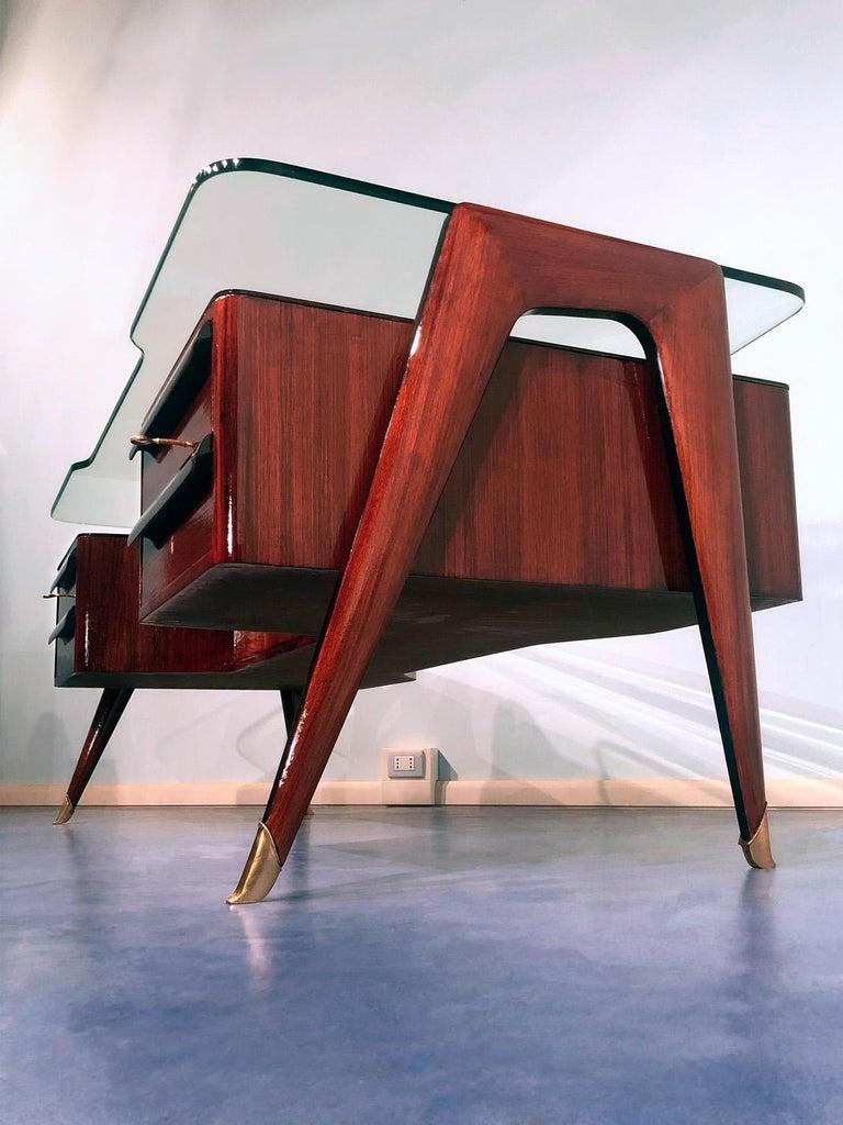 Italian Midcentury Rosewood Executive Desk by Vittorio Dassi, 1950s For Sale 1