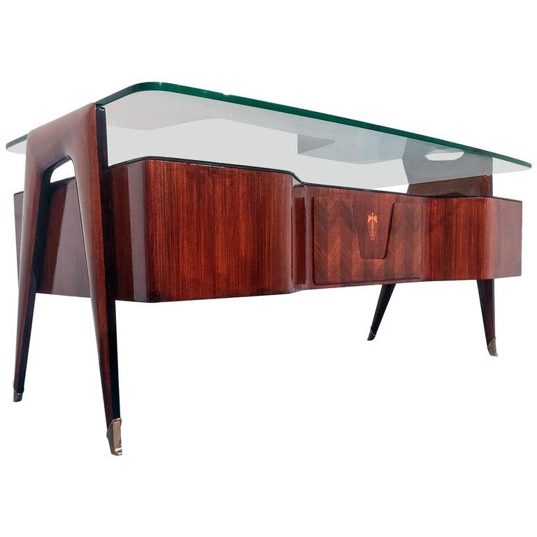 Italian Midcentury Rosewood Executive Desk by Vittorio Dassi, 1950s For Sale