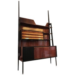 Italian Midcentury Rosewood Self-Standing Bookcase by Vittorio Dassi, 1950s