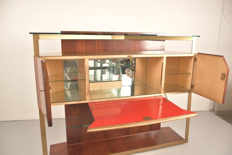 Italian Midcentury Rosewood Sideboard or Bar Cabinet by Vittorio Dassi, 1950s For Sale 6