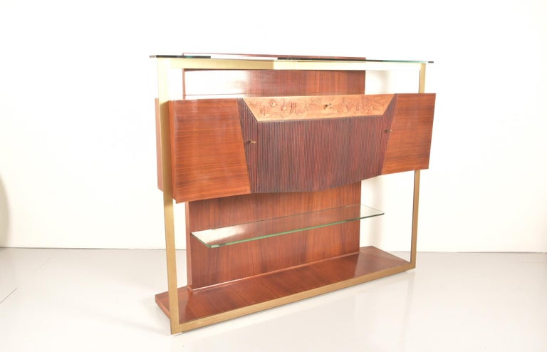 Italian Midcentury Rosewood Sideboard or Bar Cabinet by Vittorio Dassi, 1950s For Sale 11