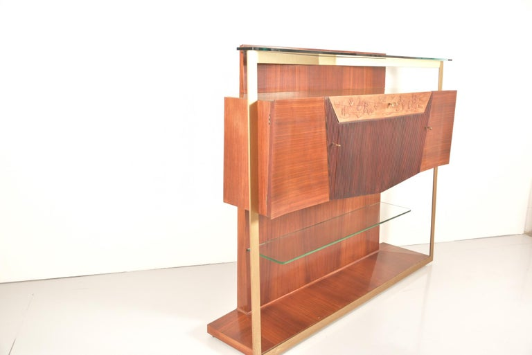 Italian Midcentury Rosewood Sideboard or Bar Cabinet by Vittorio Dassi, 1950s For Sale 13