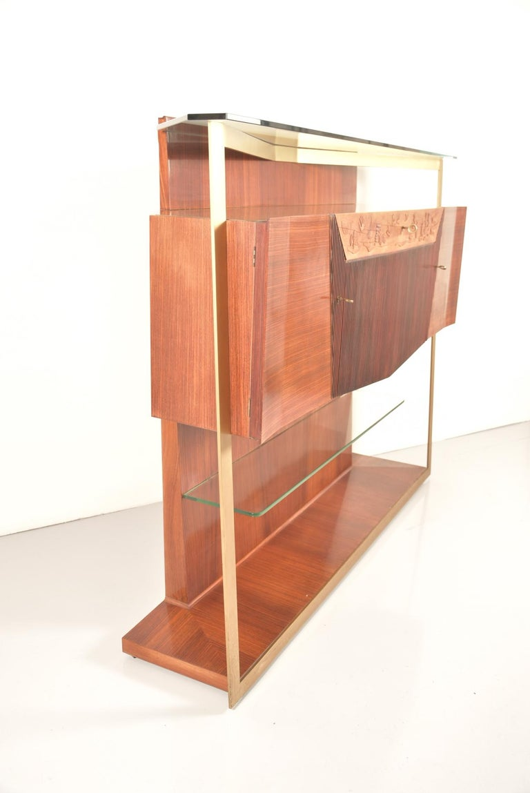 Italian Midcentury Rosewood Sideboard or Bar Cabinet by Vittorio Dassi, 1950s For Sale 14