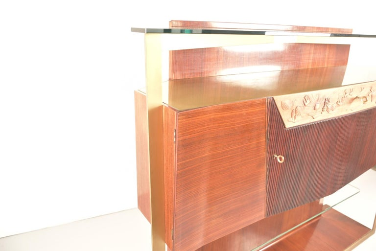 20th Century Italian Midcentury Rosewood Sideboard or Bar Cabinet by Vittorio Dassi, 1950s For Sale