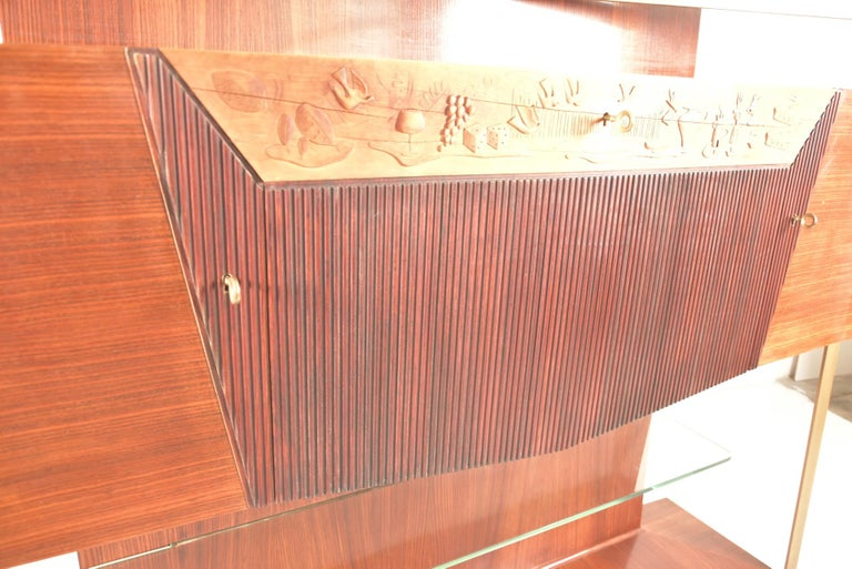 Italian Midcentury Rosewood Sideboard or Bar Cabinet by Vittorio Dassi, 1950s For Sale 1