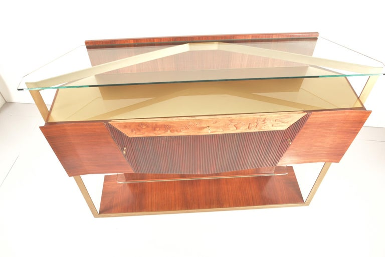 Italian Midcentury Rosewood Sideboard or Bar Cabinet by Vittorio Dassi, 1950s For Sale 3