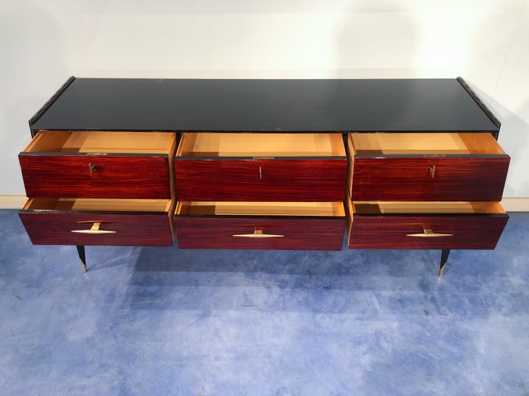 Italian Midcentury Rosewood Sideboard or Chest of Drawers, 1960s For Sale 12