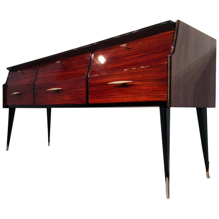 Italian Midcentury Rosewood Sideboard or Chest of Drawers, 1960s For Sale