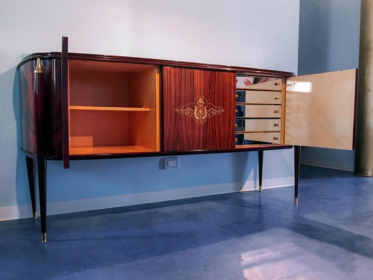 Italian Midcentury Rosewood Sideboard Paolo Buffa Style, 1950s For Sale 6
