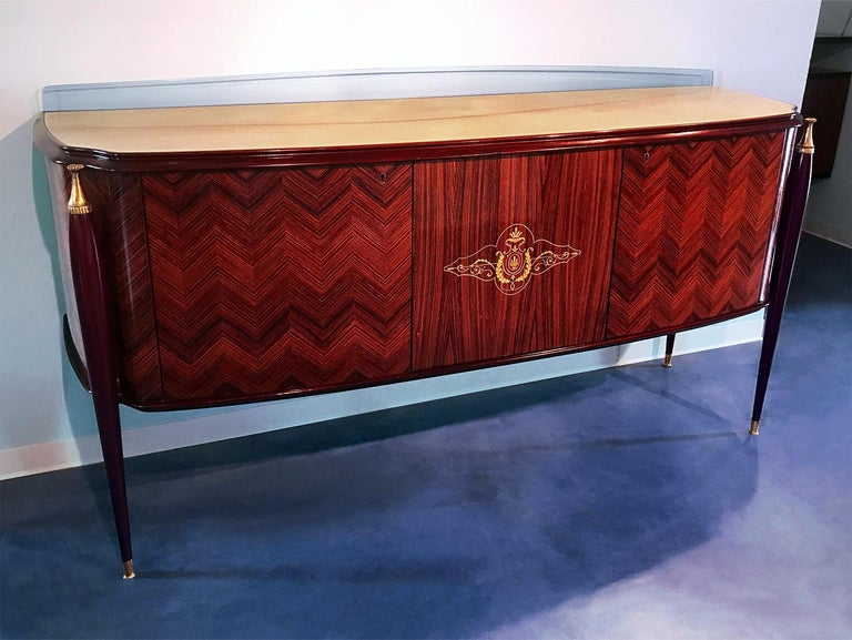 Italian Midcentury Rosewood Sideboard Paolo Buffa Style, 1950s For Sale 1