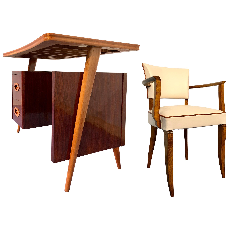 Italian Midcentury Teak Small Desk and Chair by Vittorio Dassi, 1950s