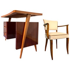 Italian Midcentury Teak Small Desk and Chair by Vittorio Dassi, 1950s