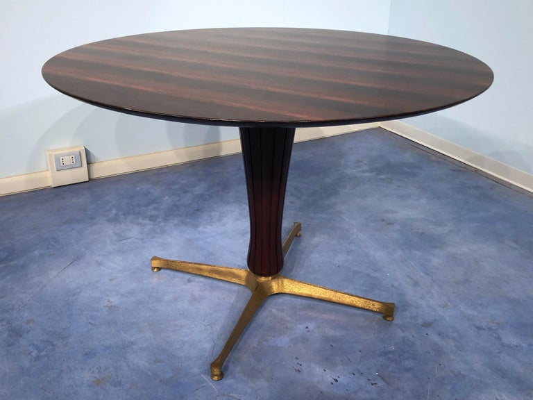 Brass Italian Midcentury Rosewood Table Attributed to Paolo Buffa, 1950s For Sale