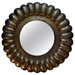 Italian Midcentury Round Brass Mirror