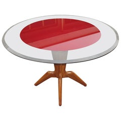 Italian Midcentury Round Table with Glass Top, Milano, 1950s
