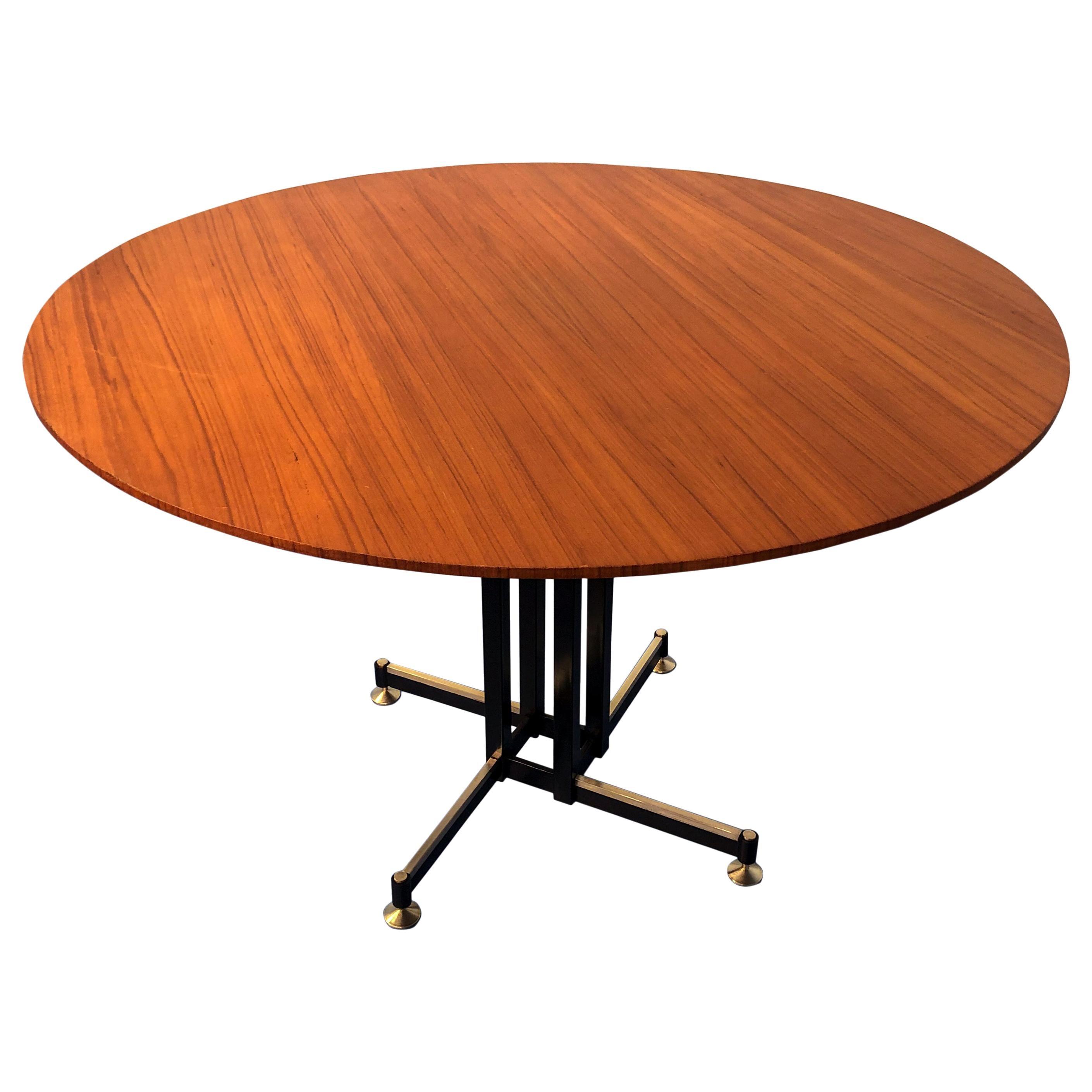 Italian Midcentury Round Teak Dining Table, 1950s