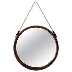 Italian Midcentury Round Teak Wall Mirror, 1960s