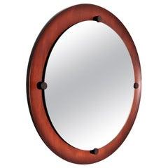 Italian Midcentury Round Wall Mirror in Teak, 1960s