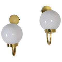 Italian Midcentury Sconces in Brass and Opaline Glass