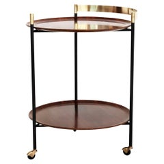 Italian Midcentury Serving Cart Bar or Trolley in Brass with Teak Trays, 1960s