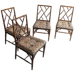 Italian Midcentury Set of 4 Chairs in Bamboo