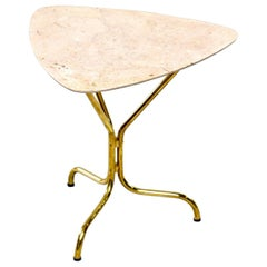 Italian Midcentury Side Table with Brass Base and Travertine Top
