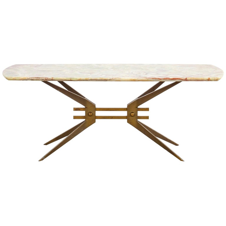 Italian Midcentury Side Table with Onyx Top, 1960 For Sale