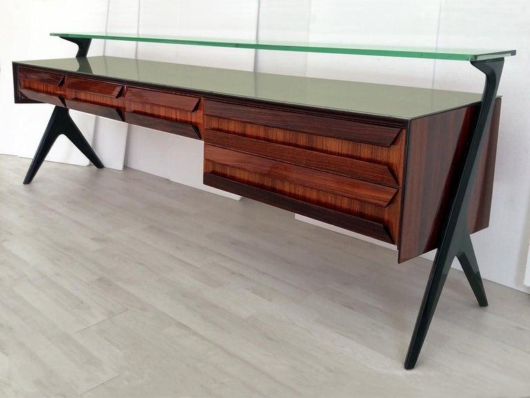 Italian Midcentury Sideboard or Vanity Dresser by Vittorio & Plinio Dassi, 1950s In Good Condition For Sale In Traversetolo, IT
