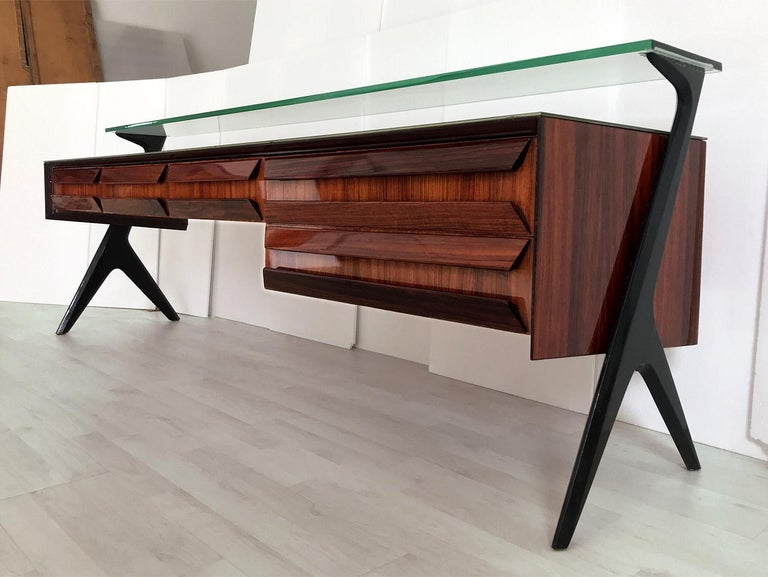 Mid-20th Century Italian Midcentury Sideboard or Vanity Dresser by Vittorio & Plinio Dassi, 1950s For Sale