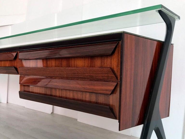 Wood Italian Midcentury Sideboard or Vanity Dresser by Vittorio & Plinio Dassi, 1950s For Sale