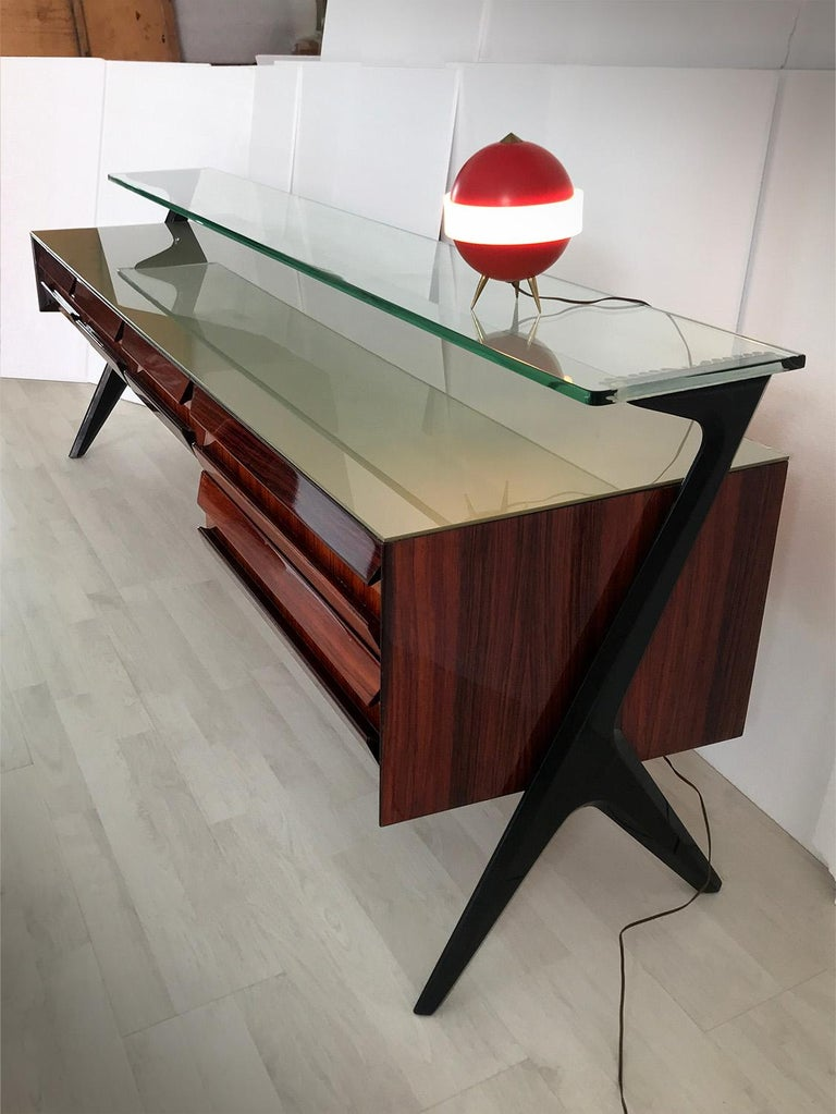 Italian Midcentury Sideboard or Vanity Dresser by Vittorio & Plinio Dassi, 1950s For Sale 2