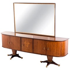 Italian Midcentury Sideboard with Mirror Attributed to Paolo Buffa, 1950s