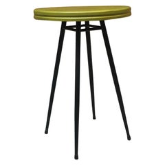 Italian Midcentury Small Round Green Top Bar Table from Sala Lutraio, 1950s