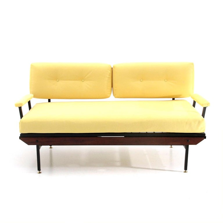 Midcentury Sofa Bed In Yellow Fabric