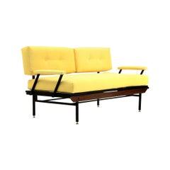 Italian Midcentury Sofa Bed in Yellow Fabric, 1950s