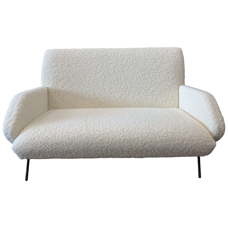 Italian Midcentury Sofa by Gio Ponti in Cream Sheepskin