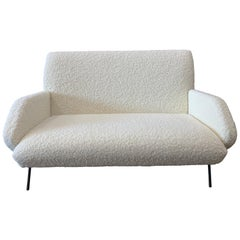 Italian Midcentury Sofa by Gio Ponti in Cream Sheepskin