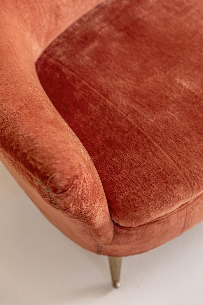 Brass Italian Midcentury Sofa by Isa