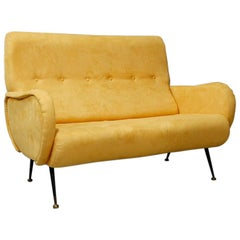 Italian Midcentury Sofa with Two Seats in Yellow Velvet, Zanuso Style, 1950